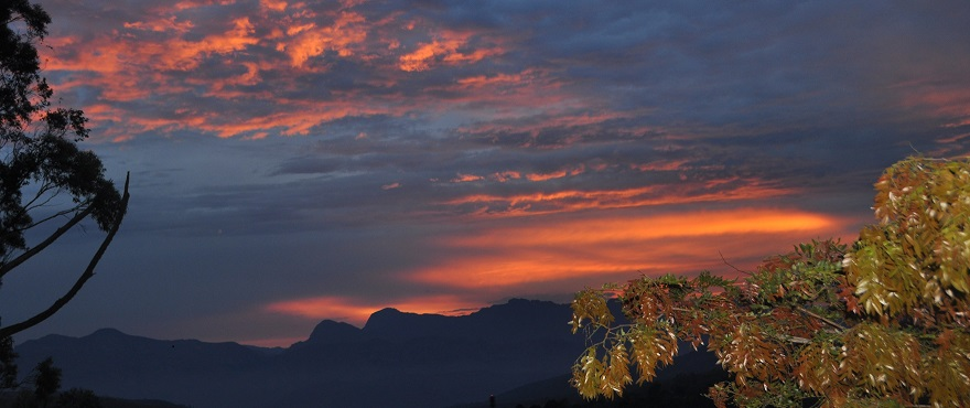 January sunrise behind the Chimanimani Mountains